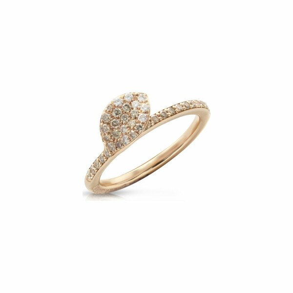 Bague Pasquale Bruni Petit garden en or rose, diamants bruns et blancs