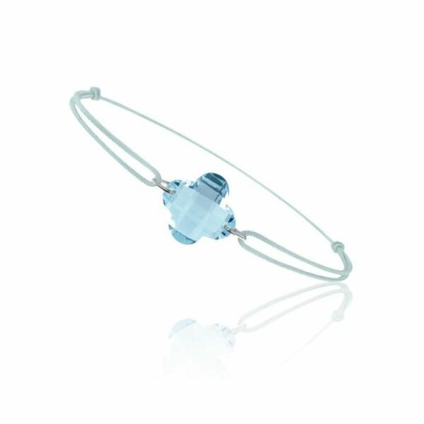 Bracelet sur cordon Bellon en or blanc et topaze bleue