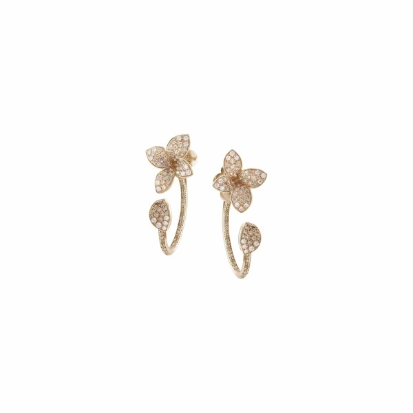 Boucles d'oreilles Pasquale Bruni Petit garden en or rose, diamants bruns et blancs