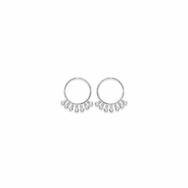 Boucles d'oreilles créoles en argent et oxydes de zirconium