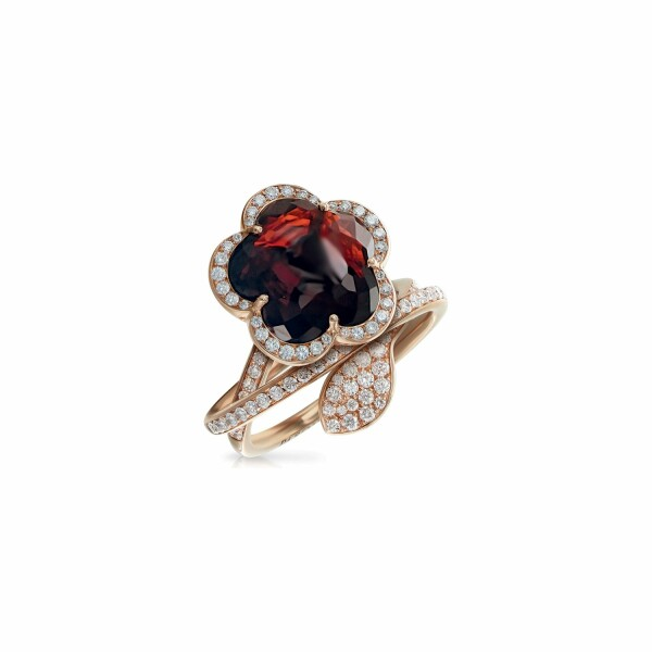 Bague Pasquale Bruni Je t'Aime en or rose, grenat, diamants bruns et blancs