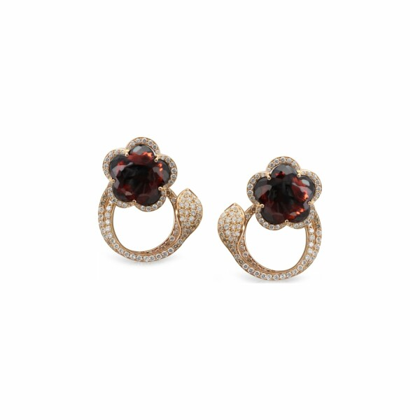 Boucles d'oreilles Pasquale Bruni Je t'Aime en or rose, grenat, diamants bruns et blancs