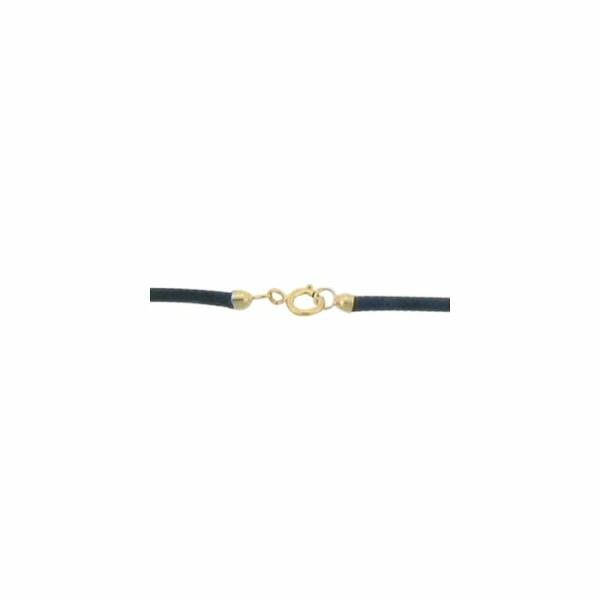 Collier sur cordon Bellon noir, fermoir en or jaune, longueur 45cm