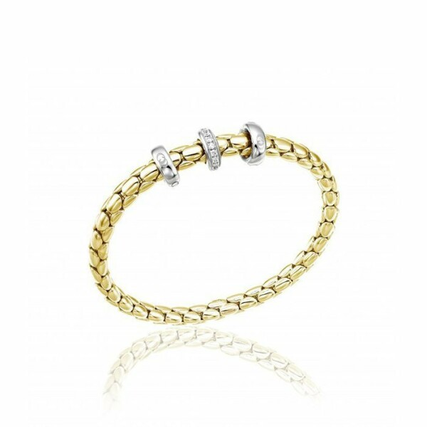 Bracelet CHIMENTO Stretch Spring en or jaune, or blanc et diamants