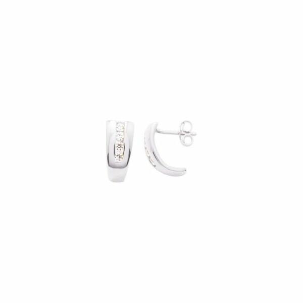 Boucles d'oreilles en or blanc et oxydes de zirconium