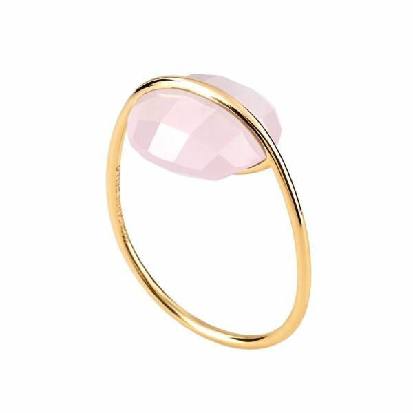 Bague Morganne Bello Honoré en or jaune et quartz rose