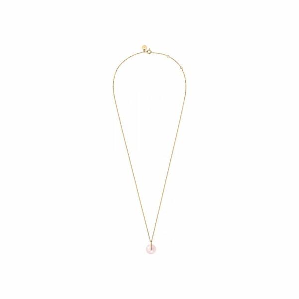 Collier Morganne Bello Honoré en or jaune et quartz rose