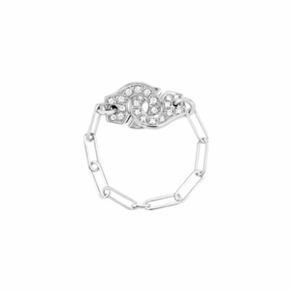 Bague chaîne dinh van Menottes dinh van en or blanc et diamants R7
