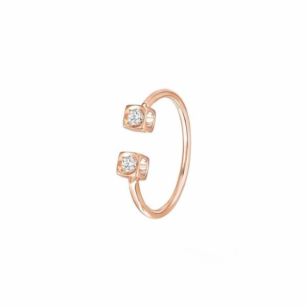 Bague dinh van Le Cube Diamant en or rose et diamants