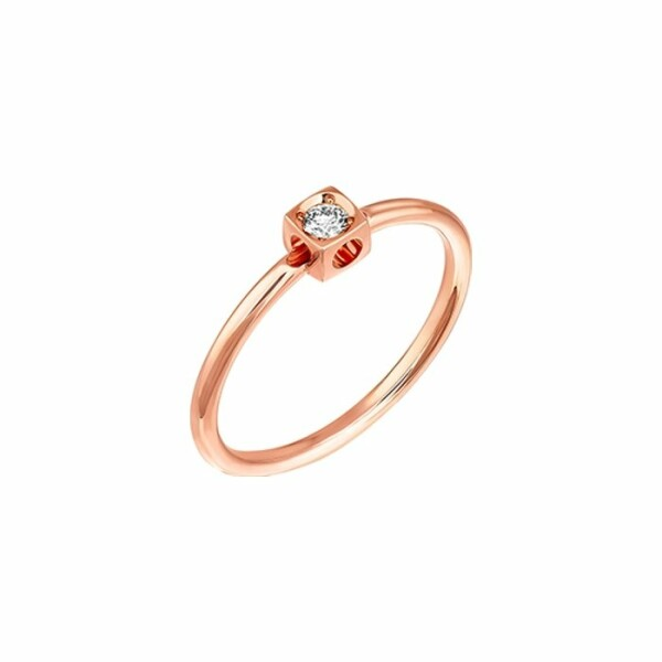 Bague dinh van Le Cube Diamant en or rose et diamant XS