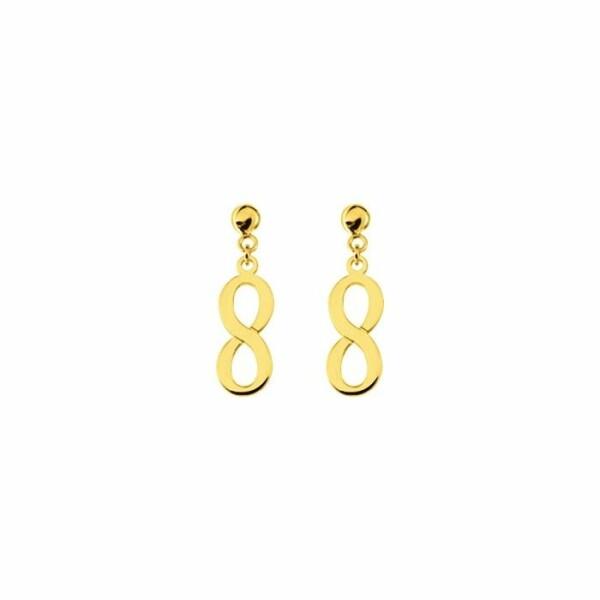 Boucles d'oreilles pendantes infini en or jaune