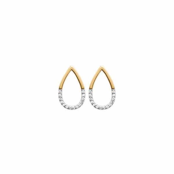 Boucles d'oreilles en acier. plaqué or jaune et oxydes de zirconium