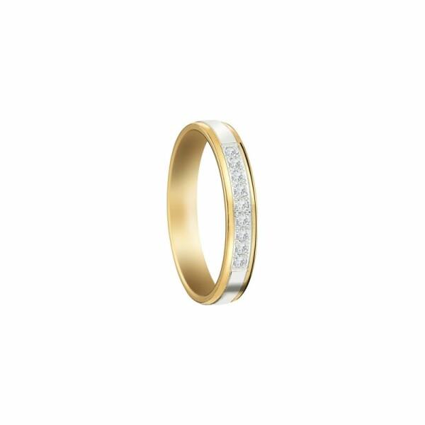 Alliance en or blanc et or jaune et diamants