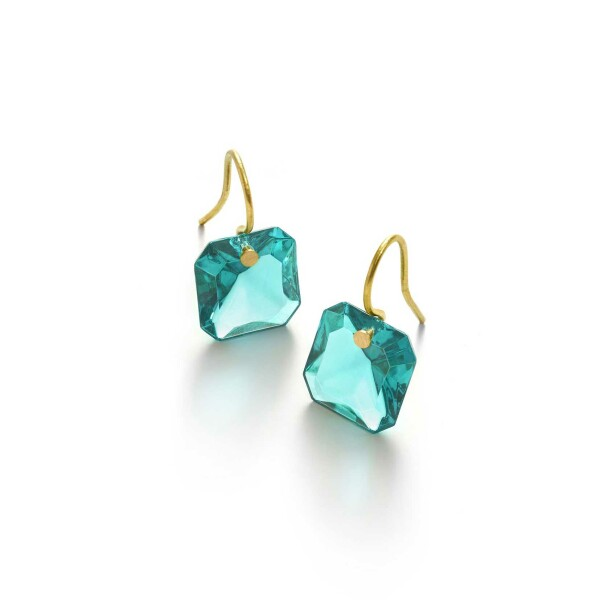 Boucles d'oreilles Baccarat par Marie-Hélène de Taillac en or jaune et cristal