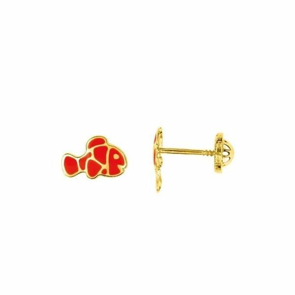 Boucles d'oreilles poissons en or jaune