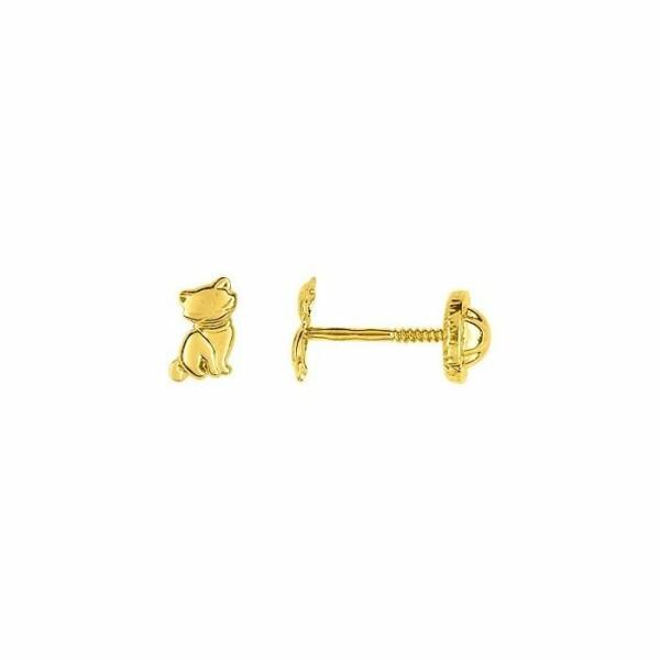 Boucles d'oreilles chats en or jaune