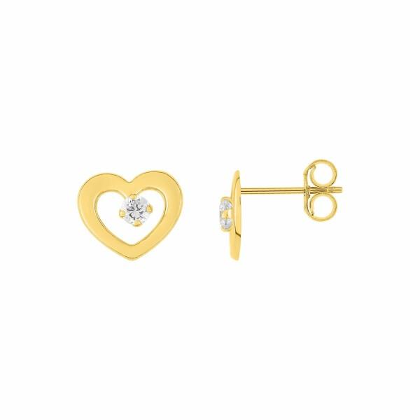 Boucles d'oreilles coeur en or jaune et oxydes de zirconium