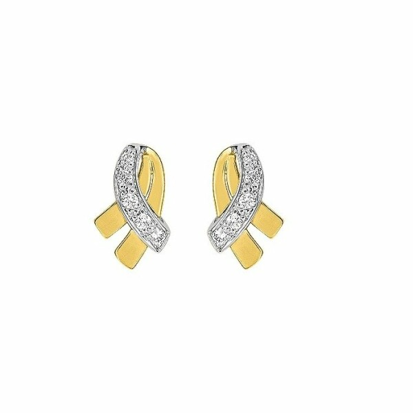 Boucles d'oreilles en or jaune, or blanc et oxydes de zirconium