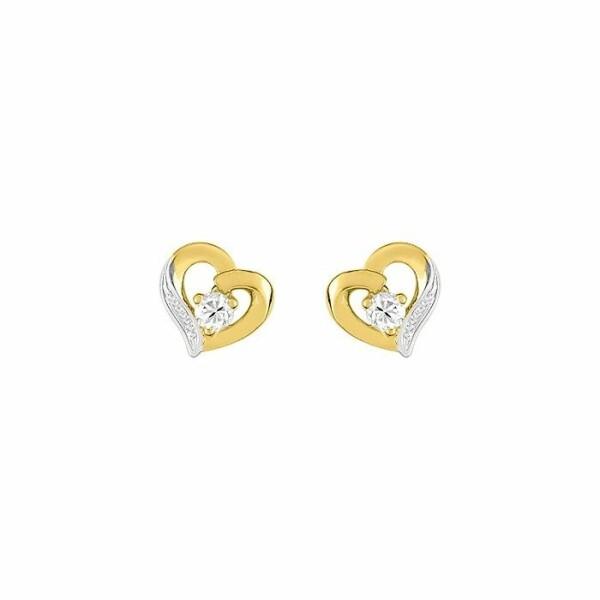 Boucles d'oreilles coeurs en or blanc, or jaune et oxydes de zirconium