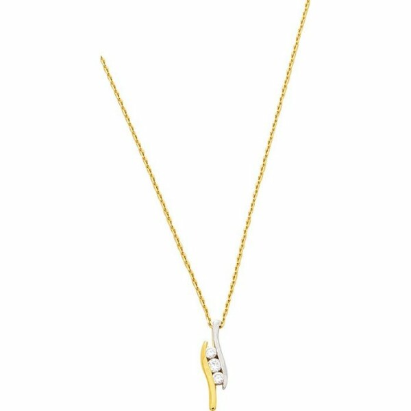 Collier en or jaune, or blanc et diamants de 0.15ct