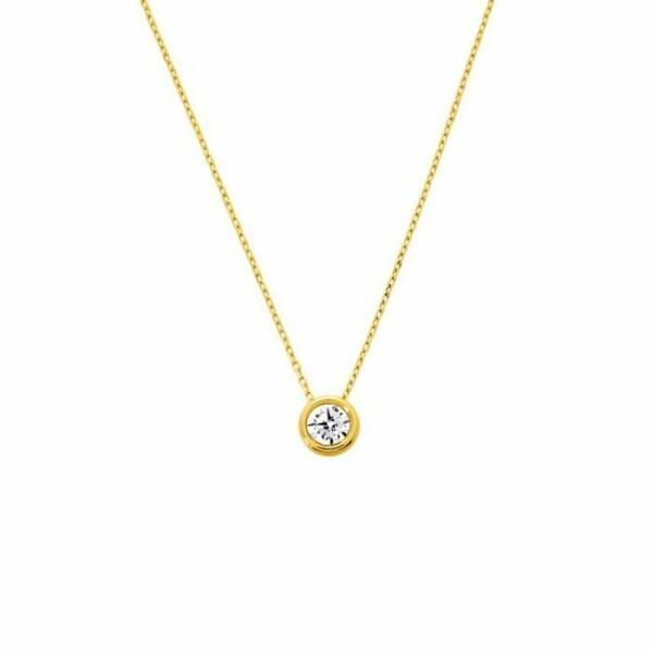 Collier en or jaune et oxyde de zirconium