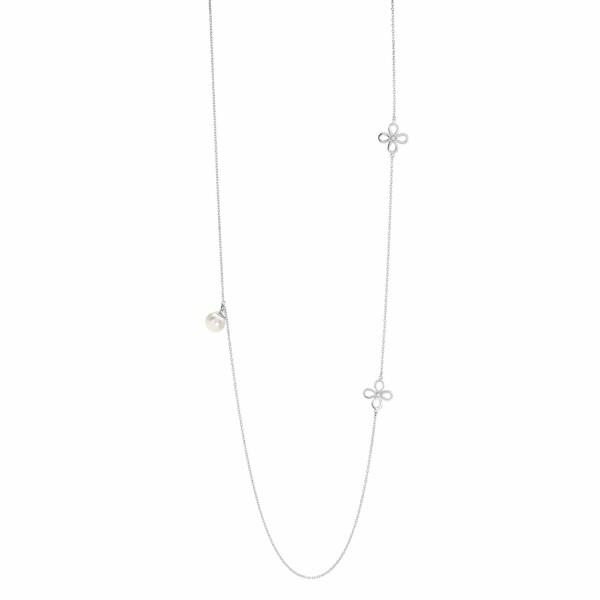 Collier sautoir Murat en argent, perle et oxydes de zirconium