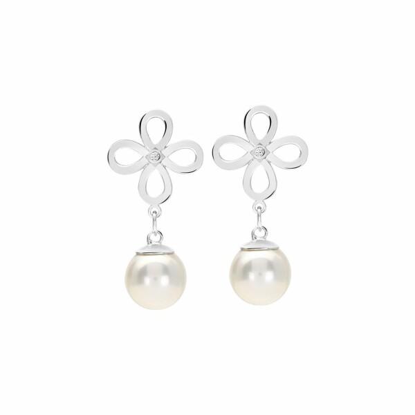 Boucles d'oreilles Murat en argent, perle et oxydes de zirconium