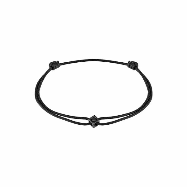 Bracelet sur cordon dinh van Le Cube Diamant en titane noir et diamant noir
