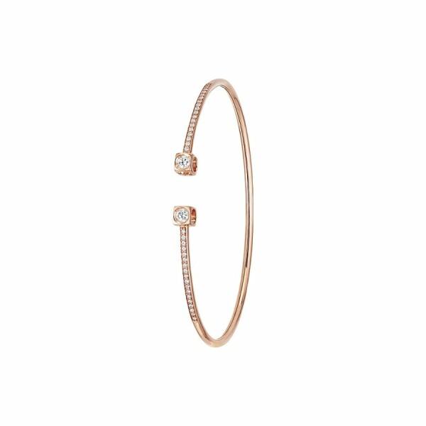 Bracelet dinh van Le Cube Diamant grand modèle en or rose et diamants