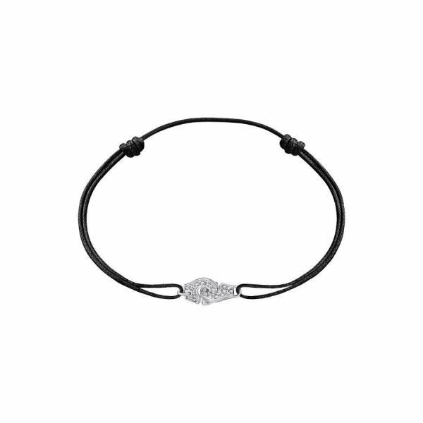 Bracelet sur cordon dinh van Menottes dinh van R8 en Or blanc et Diamant