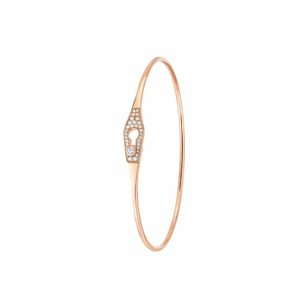 Bracelet jonc dinh van Serrure en or rose et diamants
