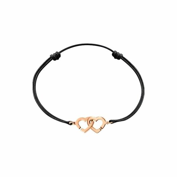 Bracelet sur cordon dinh van Double Cœurs en Or rose