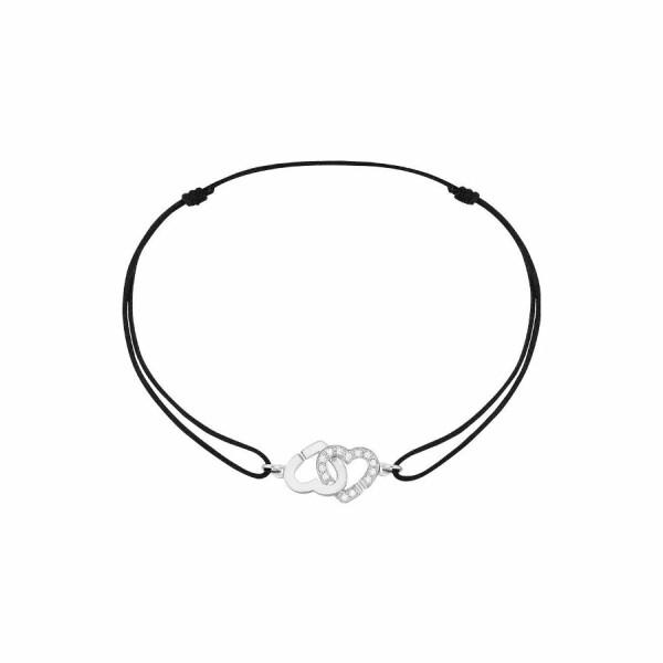 Bracelet dinh van Double Coeurs en or blanc et diamants