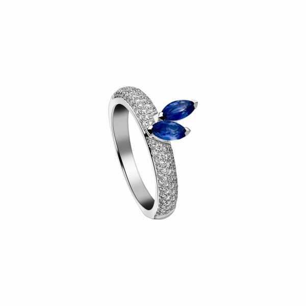 Bague Garden Party Symphonie en or blanc, saphir bleu et diamants