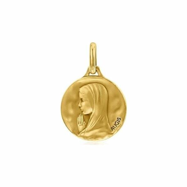 Médaille de baptême Augis Vierge mains jointes en or jaune, 16mm