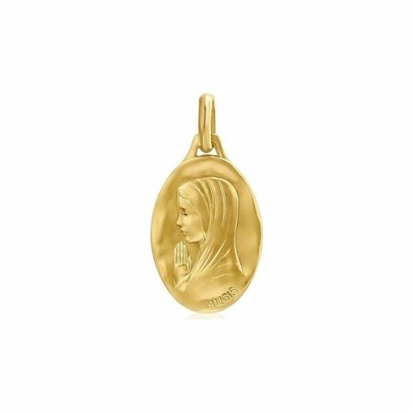 Médaille de baptême Augis en or jaune Vierge aux mains jointes