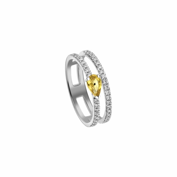 Bague Garden Party Symphonie en or blanc, saphir jaune et diamants