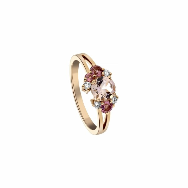 Bague Garden Party Rendez-vous en or rose, morganite, tourmalines et diamants
