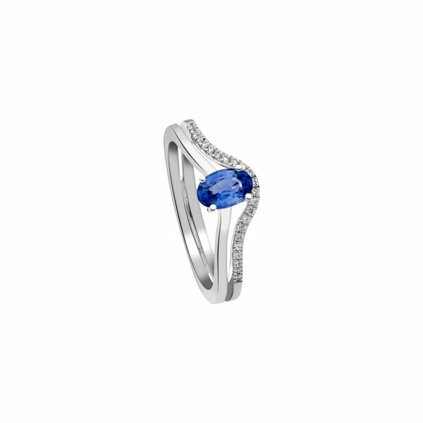 Bague Garden Party Rendez-vous en or blanc, saphir bleu et diamants