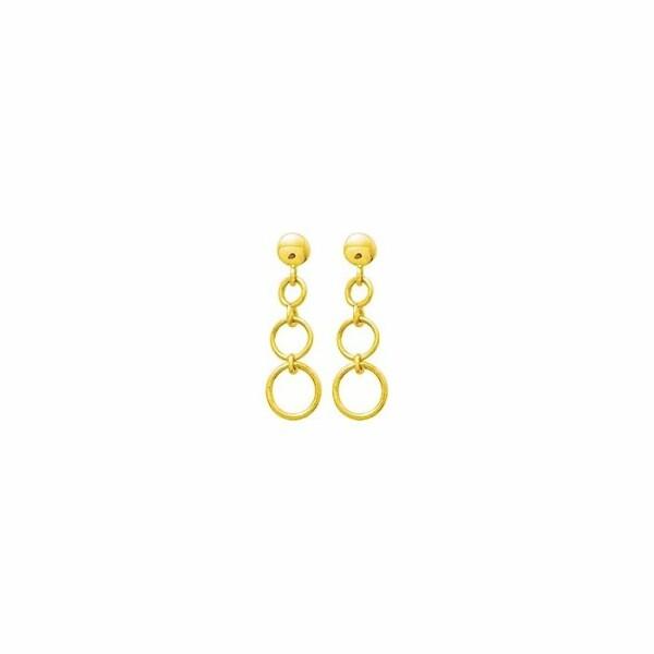 Boucles d'oreillles pendantes en or jaune