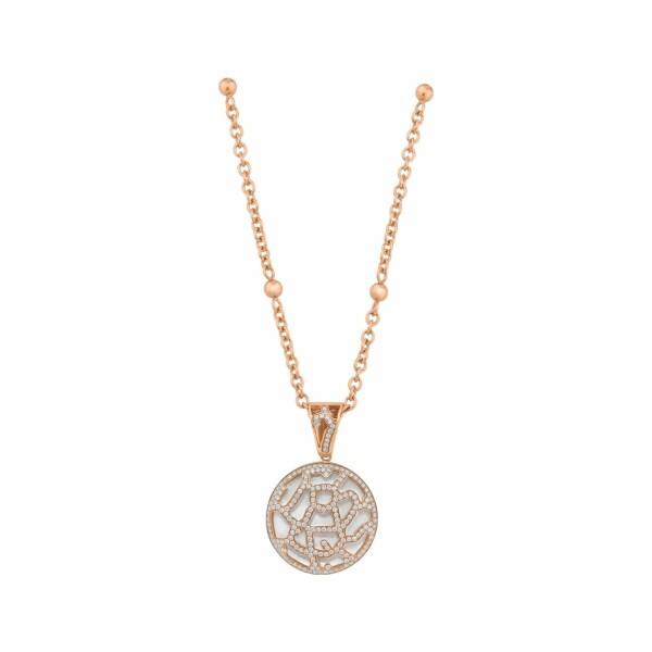 Pendentif Médaillon de Nacre blanche et diamants en or rose