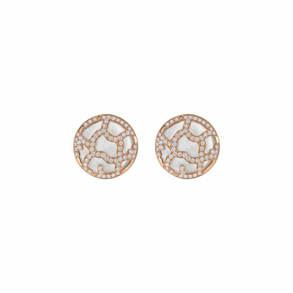 Boucles d'oreilles Médaillon de Nacre blanche et diamants en or rose
