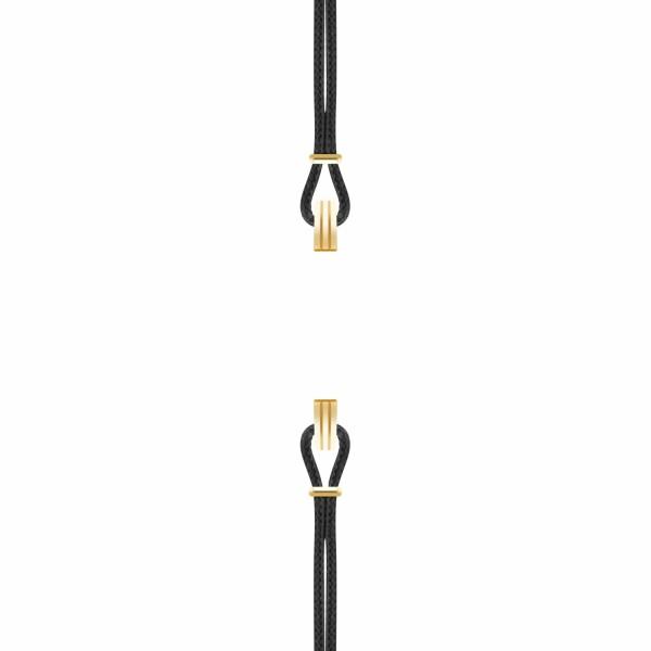 Bracelet de montre SILA en plaqué or jaune et coton, couleur noir profond