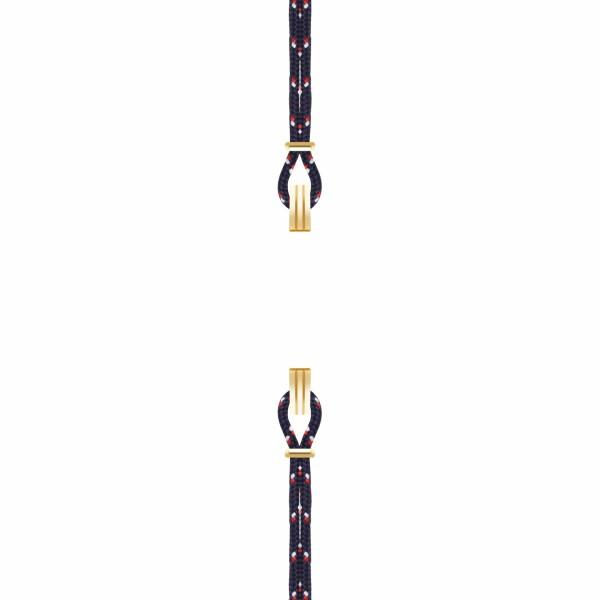 Bracelet de montre SILA en plaqué or jaune et nylon, couleur nautique bleu marine