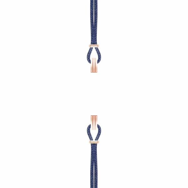 Bracelet de montre SILA en plaqué or rose et coton, couleur bleu de minuit