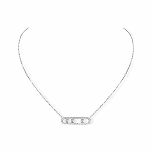 Collier Messika Move Classique en or blanc et pavé de diamants