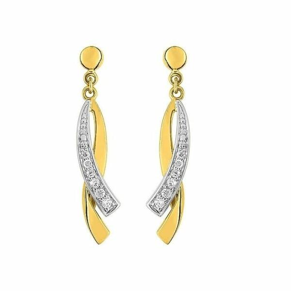 Boucles d'oreilles pendantes en or jaune, or blanc et oxydes de zirconium
