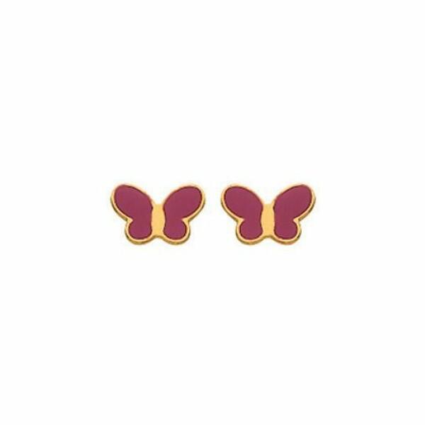 Boucles d'oreilles papillon fuchsia en or jaune 750 millièmes