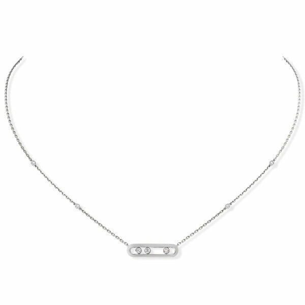 Collier Messika Move Classique Baby Move en or blanc et diamants
