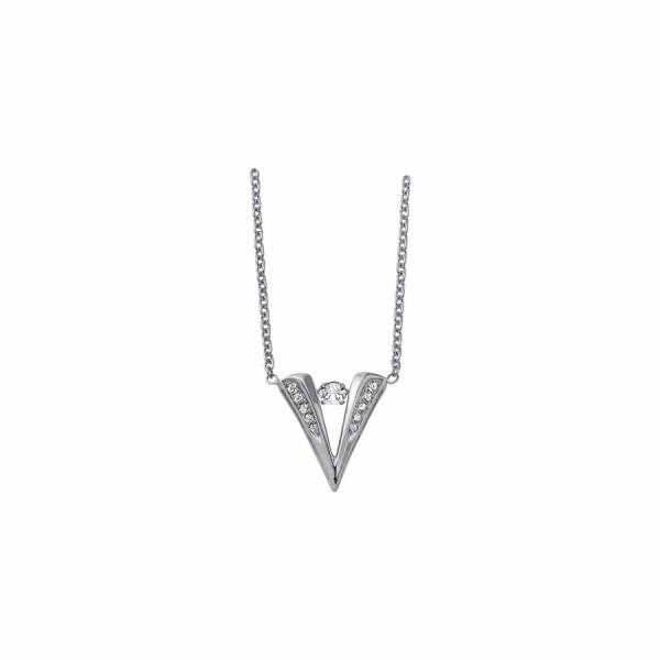 Collier Graphique en or blanc et diamants de 0.17ct